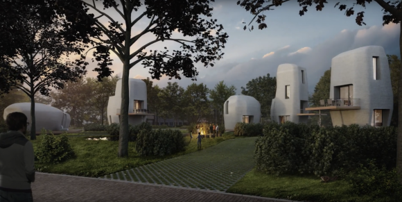 An artist's impression of the 3D printed houses. Credit: Project Milestone