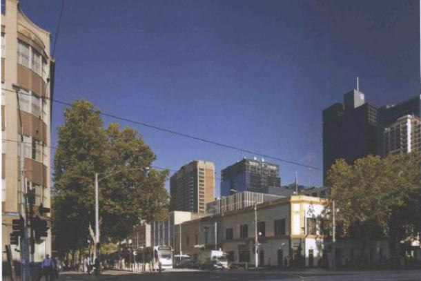 20-30 Bourke Street as observed from the steps of Parliament. © Bates Smart