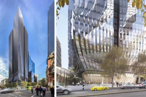 Project renders of the 555 Collins Street development