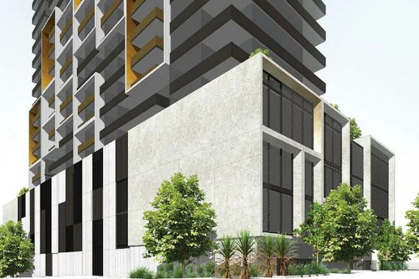 A render of a proposed residential apartment building in the suburb of Box Hill