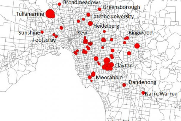 A map of sburban job centres identified within Melbourne