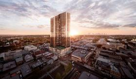 Render displaying an exterior aerial view of the intended Sky One apartment building at Box Hill